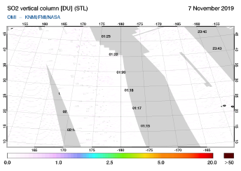 OMI - SO2 vertical column of 07 November 2019