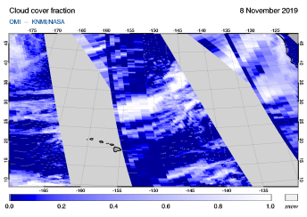 OMI - Cloud cover fraction of 08 November 2019