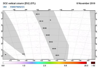 OMI - SO2 vertical column of 08 November 2019
