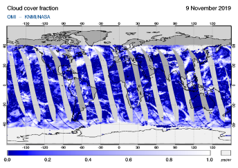 OMI - Cloud cover fraction of 09 November 2019