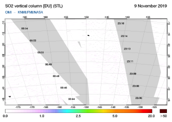 OMI - SO2 vertical column of 09 November 2019