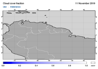 OMI - Cloud cover fraction of 11 November 2019