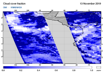 OMI - Cloud cover fraction of 13 November 2019