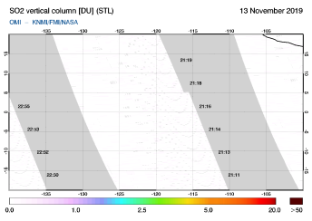 OMI - SO2 vertical column of 13 November 2019
