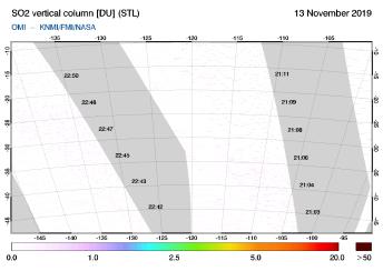 OMI - SO2 vertical column of 13 November 2019