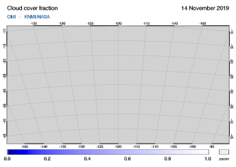 OMI - Cloud cover fraction of 14 November 2019