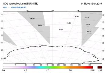 OMI - SO2 vertical column of 14 November 2019