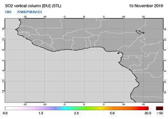OMI - SO2 vertical column of 15 November 2019