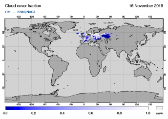 OMI - Cloud cover fraction of 16 November 2019