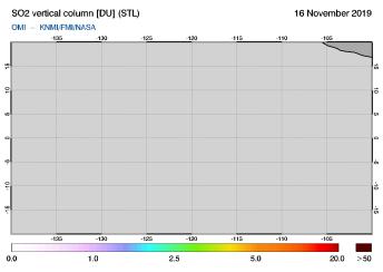 OMI - SO2 vertical column of 16 November 2019