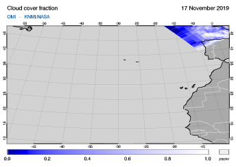 OMI - Cloud cover fraction of 17 November 2019