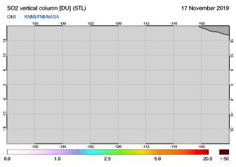 OMI - SO2 vertical column of 17 November 2019