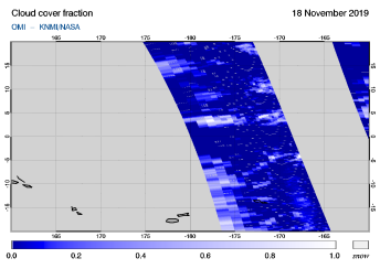OMI - Cloud cover fraction of 18 November 2019