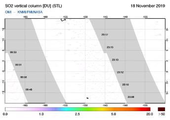 OMI - SO2 vertical column of 18 November 2019