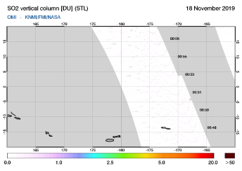 OMI - SO2 vertical column of 18 November 2019