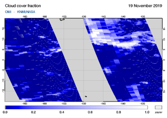 OMI - Cloud cover fraction of 19 November 2019