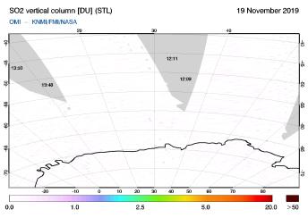 OMI - SO2 vertical column of 19 November 2019