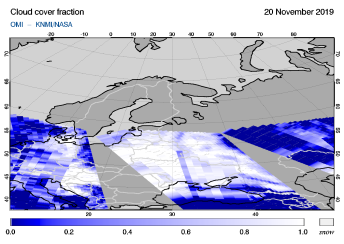 OMI - Cloud cover fraction of 20 November 2019