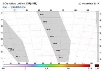 OMI - SO2 vertical column of 20 November 2019