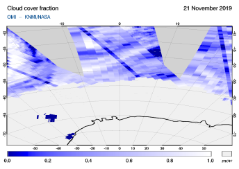 OMI - Cloud cover fraction of 21 November 2019