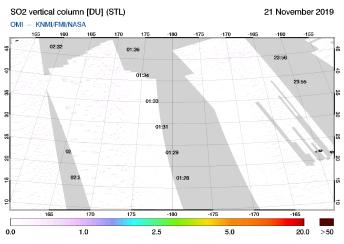 OMI - SO2 vertical column of 21 November 2019