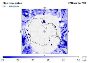 OMI - Cloud cover fraction of 22 November 2019