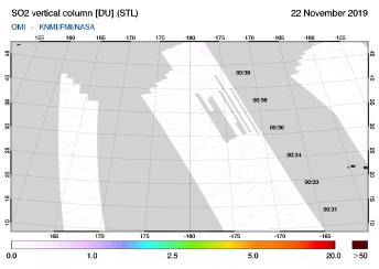 OMI - SO2 vertical column of 22 November 2019