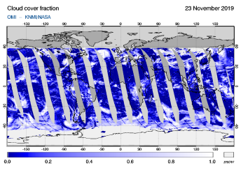 OMI - Cloud cover fraction of 23 November 2019