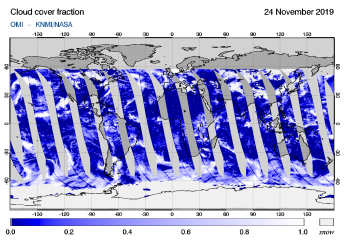 OMI - Cloud cover fraction of 24 November 2019