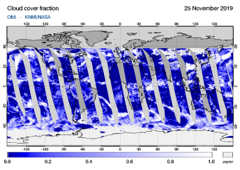 OMI - Cloud cover fraction of 25 November 2019