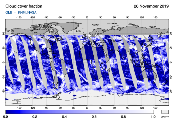 OMI - Cloud cover fraction of 26 November 2019
