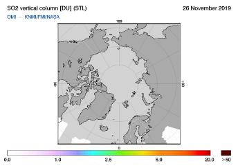 OMI - SO2 vertical column of 26 November 2019