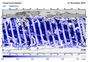 OMI - Cloud cover fraction of 27 November 2019