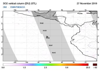 OMI - SO2 vertical column of 27 November 2019