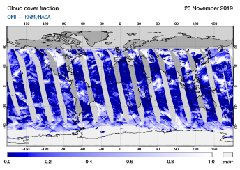 OMI - Cloud cover fraction of 28 November 2019
