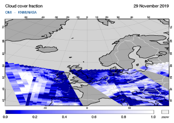 OMI - Cloud cover fraction of 29 November 2019