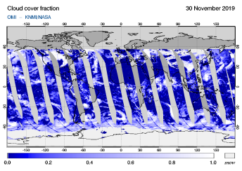 OMI - Cloud cover fraction of 30 November 2019