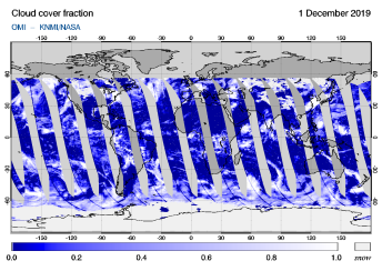 OMI - Cloud cover fraction of 01 December 2019