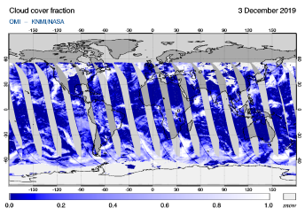 OMI - Cloud cover fraction of 03 December 2019