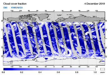 OMI - Cloud cover fraction of 04 December 2019
