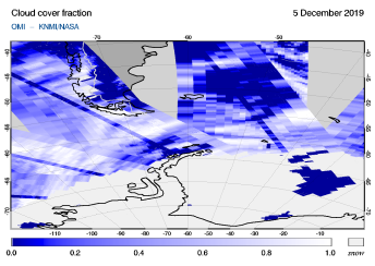 OMI - Cloud cover fraction of 05 December 2019
