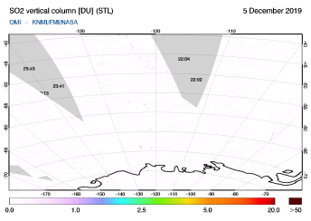OMI - SO2 vertical column of 05 December 2019