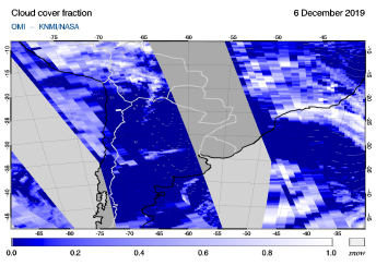 OMI - Cloud cover fraction of 06 December 2019