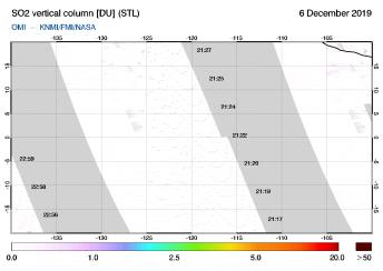 OMI - SO2 vertical column of 06 December 2019