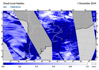 OMI - Cloud cover fraction of 07 December 2019