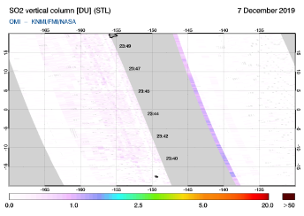OMI - SO2 vertical column of 07 December 2019