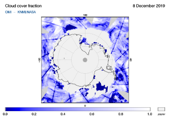 OMI - Cloud cover fraction of 08 December 2019