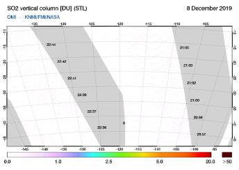 OMI - SO2 vertical column of 08 December 2019