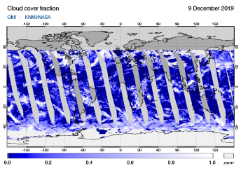 OMI - Cloud cover fraction of 09 December 2019