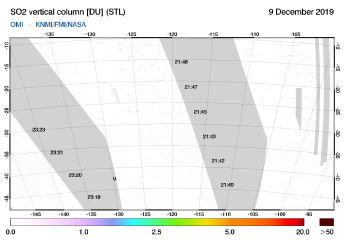 OMI - SO2 vertical column of 09 December 2019